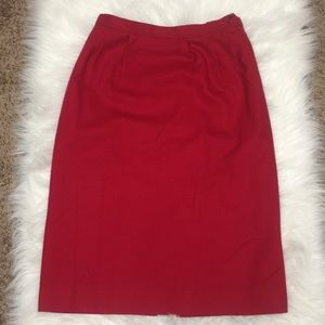 VINTAGE PENDLETON Sz 8 red wool pencil skirt wool